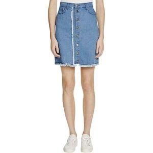 N Nicholas Women Mini Fringe Denim Skirt $295